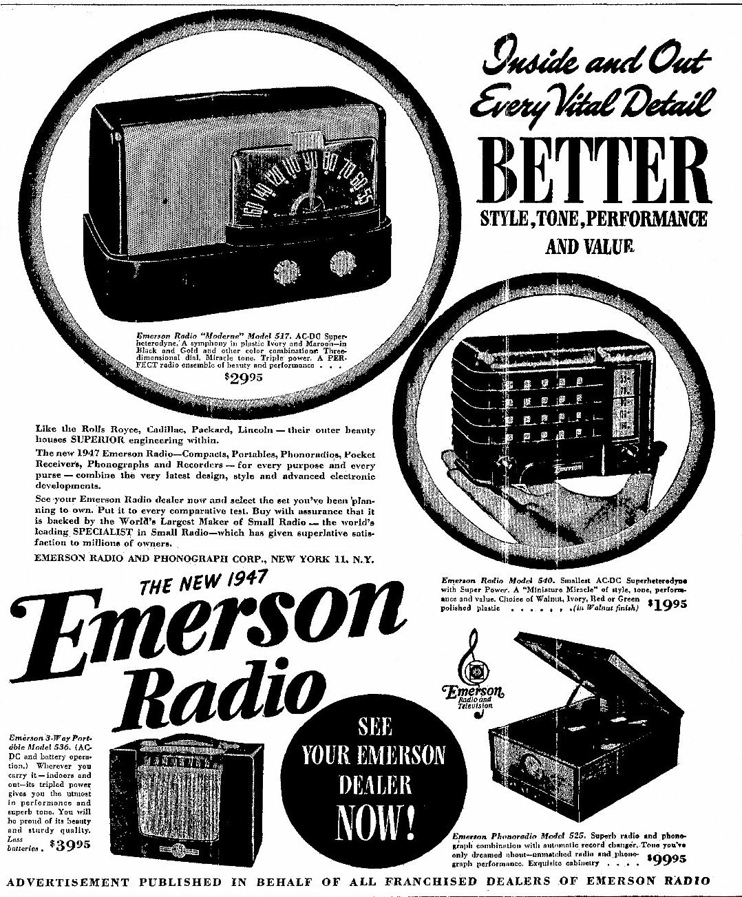 Emerson Model 511 Moderne Plaskon Table Radios 1947 1948 Schematics Click To Enlarge Ad From April
