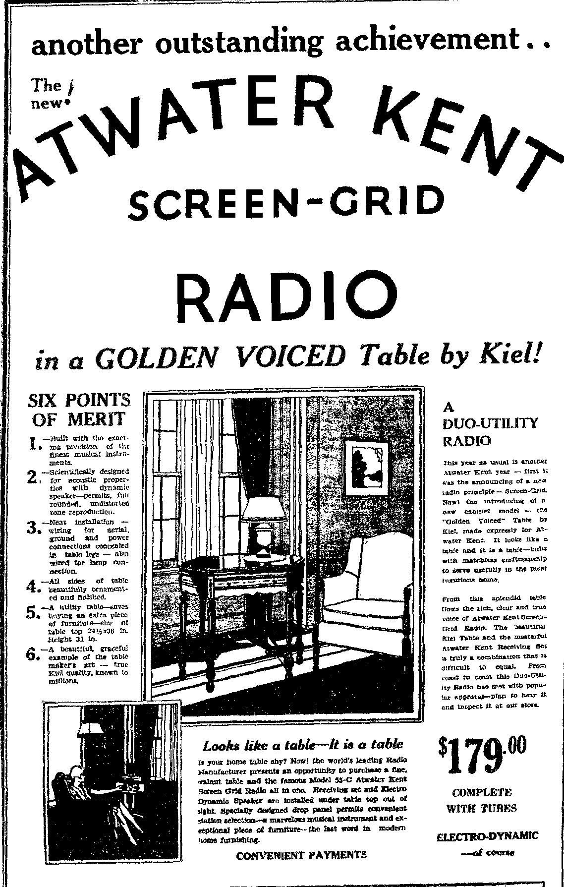 atwater kent model 55c radio in kiel table 1929