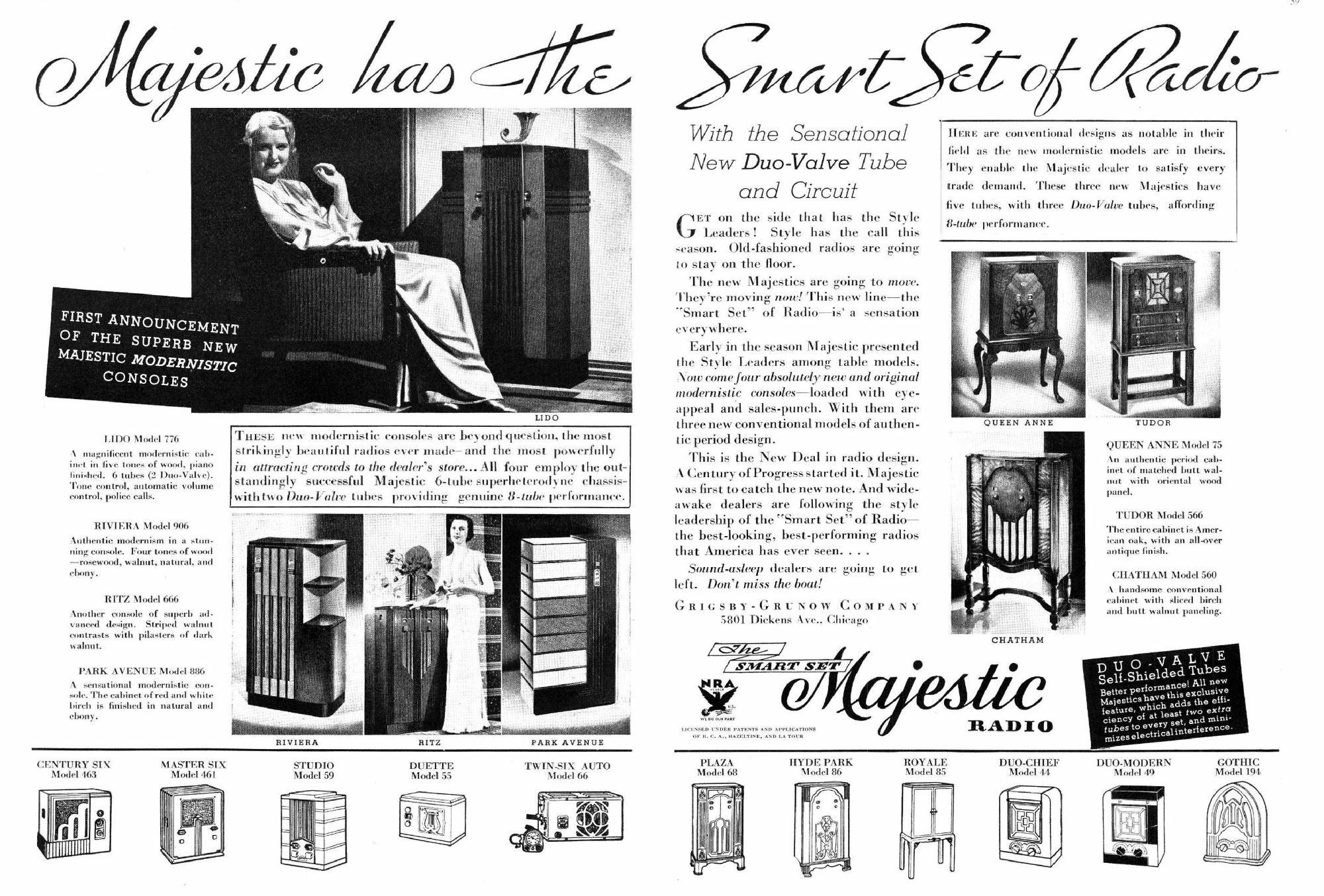 Majestic Model 886 Park Avenue Console Radio 1933 34
