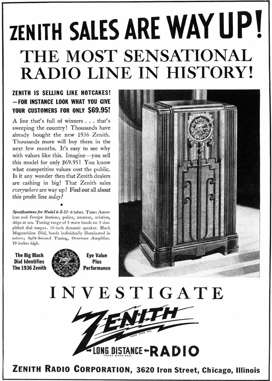 Zenith Model 6s52 Blackdial Console Radio 1936. Oct 1935 Radio Retailing. Wiring. Zenith Tube Radio Schematics 39a At Scoala.co