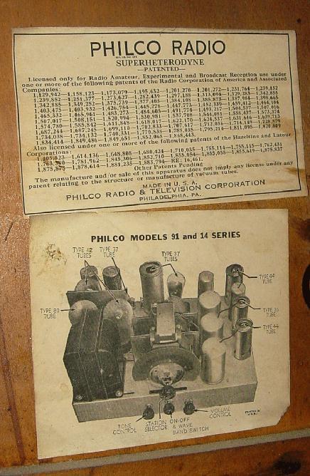 philco model 91d 91 console radio 1933. Black Bedroom Furniture Sets. Home Design Ideas
