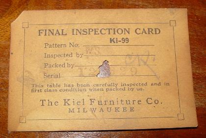 Kiel 55C Table Inspection Tag